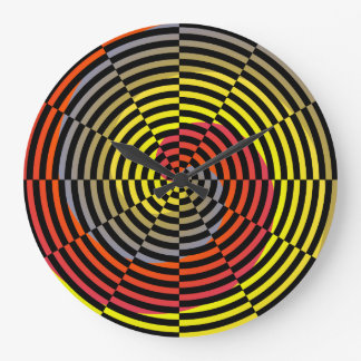 Red Yellow Blue Spiral by Kenneth Yoncich Large Clock