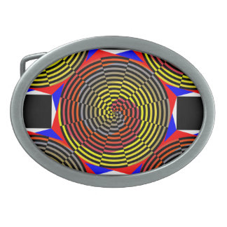 Red Yellow Blue Spiral by Kenneth Yoncich Oval Belt Buckle