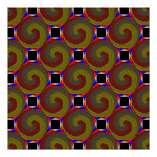 Red Yellow Blue Spiral by Kenneth Yoncich Poster