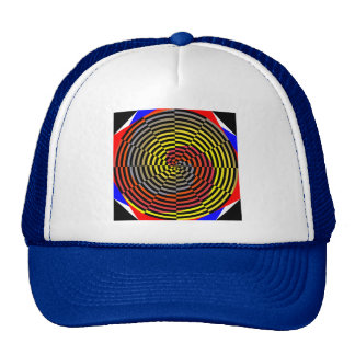 Red Yellow Blue Spiral by Kenneth Yoncich Trucker Hat