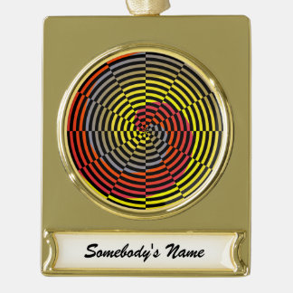 Red Yellow Blue Spiral Gold Plated Banner Ornament