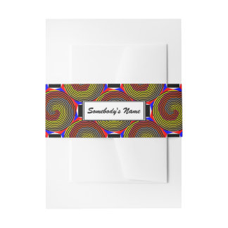 Red Yellow Blue Spiral (Personalized) Invitation Belly Band