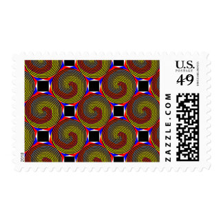 Red Yellow Blue Spiral Postage Stamps