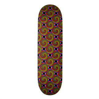 Red Yellow Blue Spiral Skateboard
