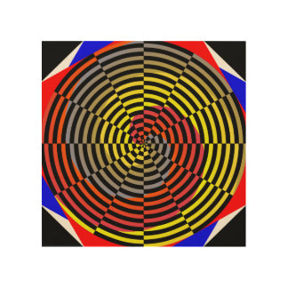Red Yellow Blue Spiral Wood Print