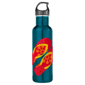 Red Yellow Blue Summer Beach Theme Flip Flops Water Bottle