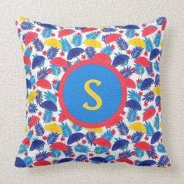 Beach Themed Red Yellow Blue Summer Beach Umbrellas Monogram Throw Pillow