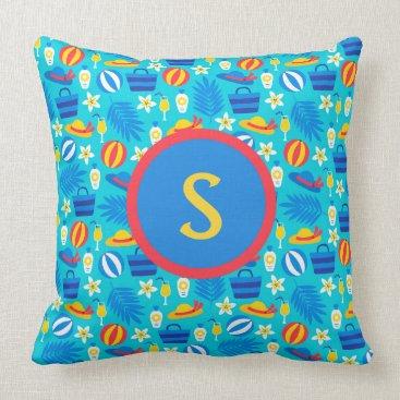 Beach Themed Red Yellow Blue Summer Beachballs & Hats Monogram Throw Pillow