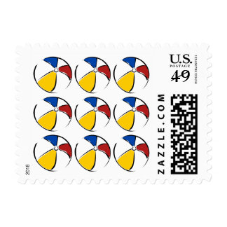 Red Yellow Blue Summer Striped Beach Balls Sketch Stamp