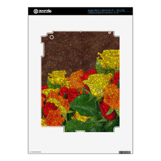 Red Yellow Brown Flower Abstract Skins For iPad 3