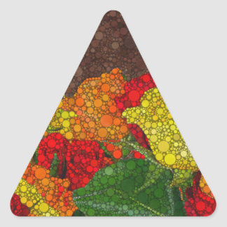 Red Yellow Brown Flower Abstract Triangle Sticker