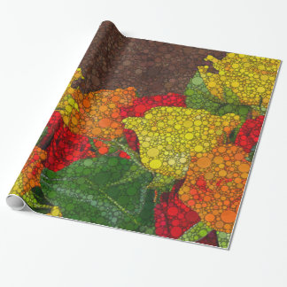 Red Yellow Brown Flower Abstract Wrapping Paper