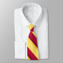 Red Yellow Burgundy and Gold Diagonally-Stripe Tie