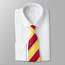 Red Yellow Burgundy and Gold Regimental Stripe Tie
