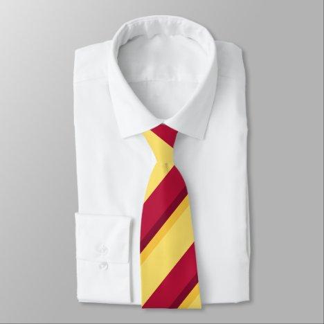 Red Yellow Burgundy and Gold Regimental Stripe Tie