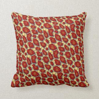 Red Yellow Cheetah Pattern Throw Pillow