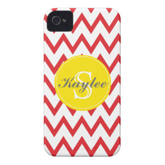 Red Yellow Chevron Monogrammed iPhone 4 4s Case-Mate iPhone 4 Case