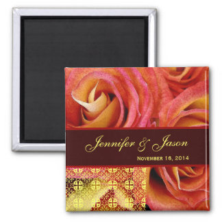 Red Yellow Chocolate Wedding Lace Rose Bouquet Refrigerator Magnets
