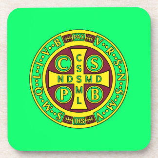 red yellow clear St Benedict Medal Coaster