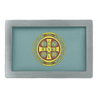 red yellow clear St Benedict Medal Rectangular Belt Buckle