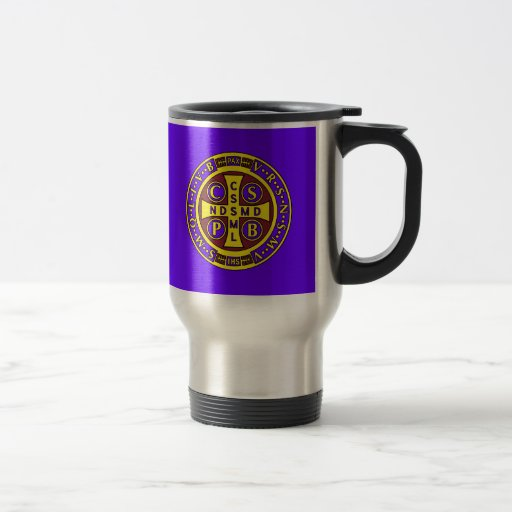 red yellow clear St Benedict Medal Travel Mug
