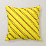 [ Thumbnail: Red & Yellow Colored Lines Pattern Throw Pillow ]