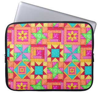 Red Yellow Colorful Patchwork Block Quilt Art Laptop Sleeves