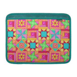 Red Yellow Colorful Patchwork Block Quilt Art MacBook Air Sleeve