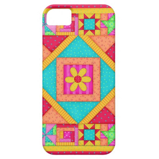 Red Yellow Colorful Patchwork Quilt Art iPhone 5 Covers
