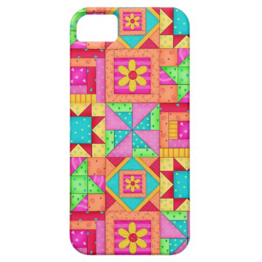 Red Yellow Colorful Patchwork Quilt Art Cover For iPhone 5/5S