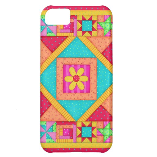 Red Yellow Colorful Patchwork Quilt Art Case For iPhone 5C