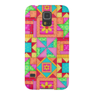 Red Yellow Colorful Patchwork Quilt Art Galaxy S5 Cases