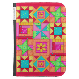 Red Yellow Colorful Patchwork Quilt Art Kindle 3 Cover