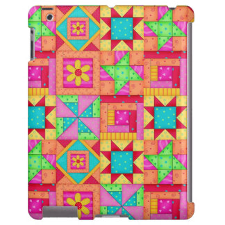 Red Yellow Colorful Patchwork Quilt Art