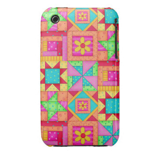 Red Yellow Colorful Patchwork Quilt Art Case-Mate iPhone 3 Cases