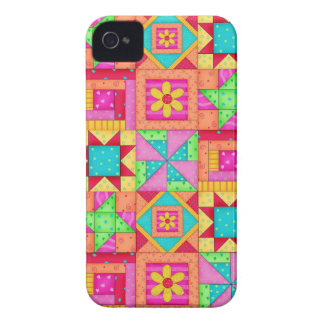 Red Yellow Colorful Patchwork Quilt Art Case-Mate iPhone 4 Case