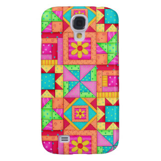 Red Yellow Colorful Patchwork Quilt Art Galaxy S4 Case