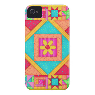 Red Yellow Colorful Patchwork Quilt Art iPhone 4 Case-Mate Case