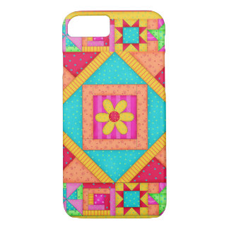 Red Yellow Colorful Patchwork Quilt Art iPhone 8/7 Case
