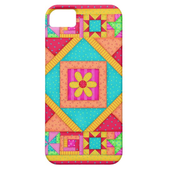 Red Yellow Colorful Patchwork Quilt Art iPhone SE/5/5s Case