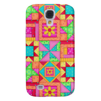 Red Yellow Colorful Patchwork Quilt Art Samsung Galaxy S4 Case
