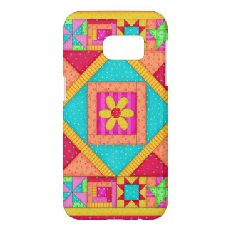 Red Yellow Colorful Patchwork Quilt Art Samsung Galaxy S7 Case
