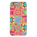 Red Yellow Colorful Patchwork Quilt Block Art Barely There iPhone 6 Case