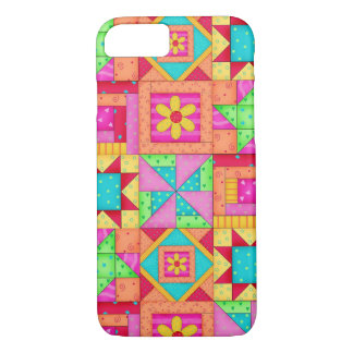 Red Yellow Colorful Patchwork Quilt Block Art iPhone 7 Case
