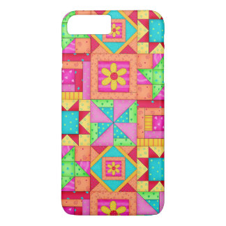 Red Yellow Colorful Patchwork Quilt Block Art iPhone 7 Plus Case