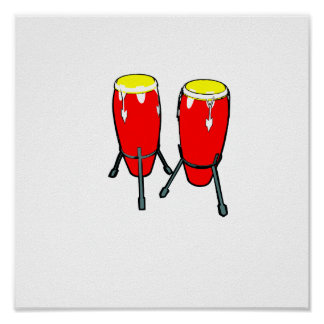 Red Yellow Congas in stands graphic image Poster