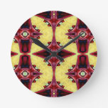 Red Yellow Cool Hip Geometric  Shapes Round Clock