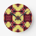 Red Yellow Cool Hip Shapes Round Clock