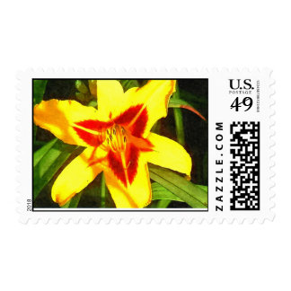 Red & Yellow Dalily postage stamps