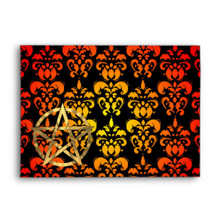 Red,  yellow damask and golden pentacle envelope